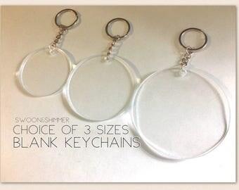 Blank Keychains, 2 2.5 3 Inch Designs, circular keychains, acrylic blanks, monogram keychain, acrylic circles, keychain charm, lanyard key