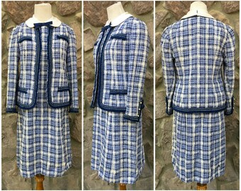 """Vintage 60s """"Chanel Inspired"""" Rona Blue & White Tartan Plaid Dress with Matching Jacket / Two Piece Outfit / Women's Size Small to Medium"""