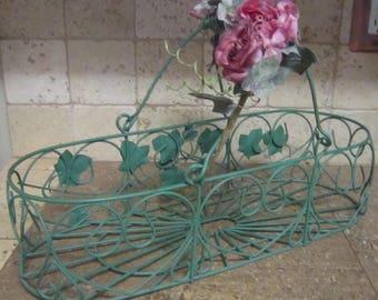 Vintage Basket, Green Wire Basket with Ivy and Hearts , Oblong Basket, Metal Basket, Floral Basket, Basket With Flowers