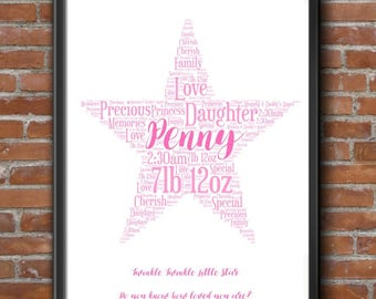 Personalised Luxury Star Word Art New Baby Nursery Bespoke Boy Girl Print Poster Gift 21x30cm A4 Any Colour Any Words