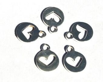 5 Pcs Silver Plated Brass Heart Charm 17x13mm Heart Charm Pendant, Small Charm Pendant CH29