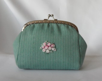 Light Green Stripe Purse, Snap purse, Clutch purse