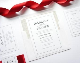 Red Shimmer Wedding Invitations, Metallic, Silver Glitter, Red Wedding Invitations, Luxury Invitations - Deposit