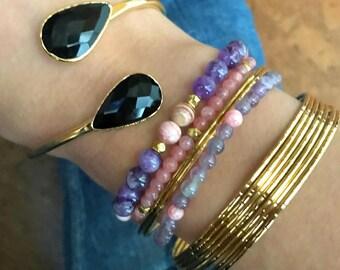 Black Onyx Bracelet // Black Onyx Gold Bracelet // Black Onyx Bangle bracelet // Black Onyx Cuff Bracelet