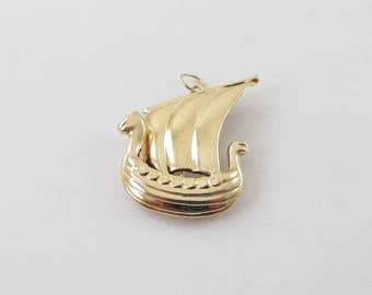 Vintage 14k Yellow Gold 3D Viking Ship Charm Pendant
