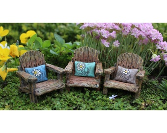 Fairy Garden  - Fairy Chair With Pillow - Choose Color Blue, Plum Or Teal (blue) - Miniature