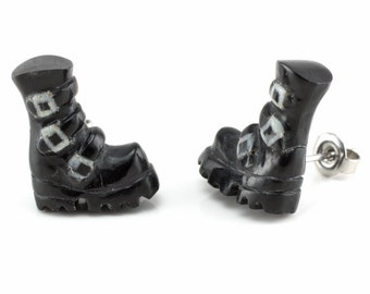 """Hand Carved- """"Goth Boots"""" - Horn with Bone Inlay Stud Earring - Urban Sole"""