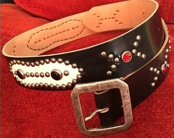 """Black leather studded western belt """"biker one"""""""