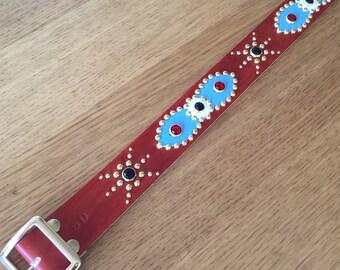 "Brown leather studded western belt ""aqua beat"""