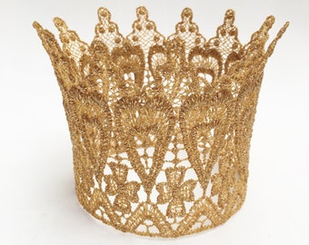 Tall Gold Lace Crown - Photo Prop Cake Topper