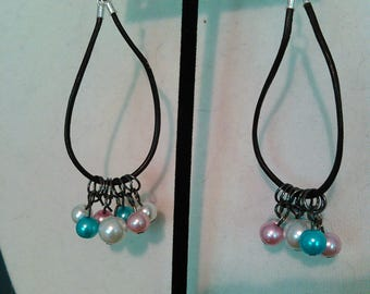 Multi colored pearls on brown leather cord earrings