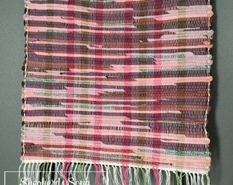 Handwoven Pink Coneflower Rag Throw Rug