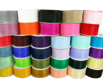 "3 ROLLS - 1-1/2"" Organza Plain Ribbon 25 yards each (75 Yards Total) BULK BUY!!!"