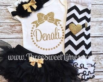 Baby Girl Clothes | Personalized Bow Monogram |Opt Headband Leg Warmer Tutu Bloomers | Baby Shower Gift Take Home Outfit