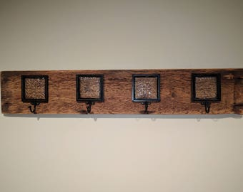 Coat Rack - Made from Recycled Barn Wood and Glass Block Hooks - Wall Hanging