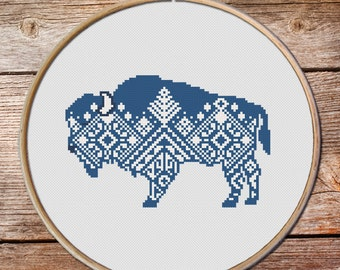 Buffalo Cross Stitch pattern, Cross Stitch Pattern, keeper of the night, totem animals, bull, Navajo cross stitch pattern, bison, rangers