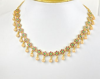 Gold plated cubic zirconia Indian necklace set with ruby and emerald stones and faux pearls| Indian Jewelry set perfect for Indian weddings
