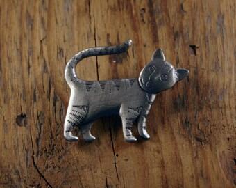 Tabby Cat, Stood, Brooch
