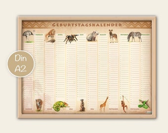 Birthday calendar animals