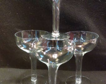 Crystal Hollow Stem  Champagne Coups, Set of 4 (1301)