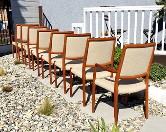 Very Rare Set of 8 Danish Solid Teak Chairs by Moller, Mid Century Modern, Made in Denmark