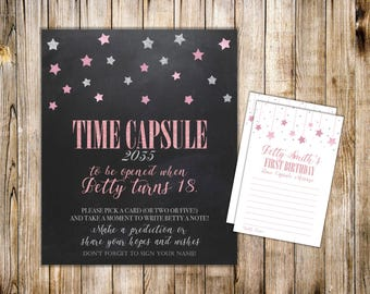 Digital TIME CAPSULE SIGN & Card, First Birthday Time Capsule Note Card, Silver Pink Twinkle Little Star, Printable Shower Dear Baby Cards