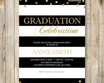 Black and White GRADUATION Celebration Invitation, High School College Graduation Invite, Announcement, Class of 2018 Grad Party Printable