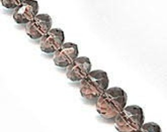 "Smoky topaz glass gemstone cut graduated strand. 1-16.5"" strand. b11-br-0743(e)"