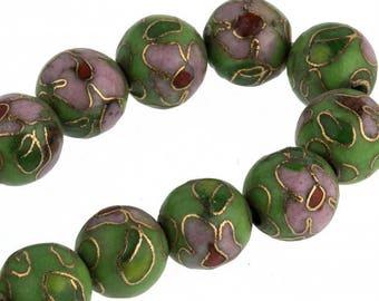 Green cloisonne flower bead. 8mm. Pkg of 6. b2-0071(e)