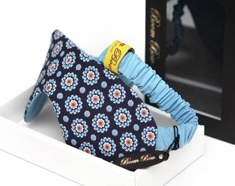 Blue Cotton Sleep Mask Gift for her Gift for him Boom Bow