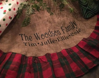 Monogrammed Christmas Tree Skirt Burlap Plaid by MattysBoutique1
