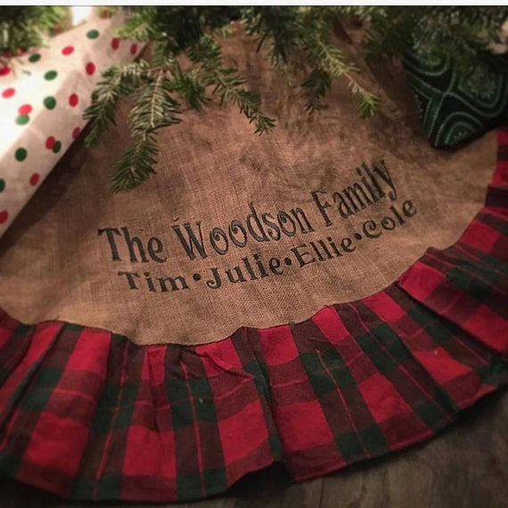burlap plaid christmas tree skirt 48 christmas tree skirt with large embroidery monogrammed