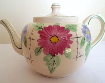 Vintage Tea Pot. 1940s Rare English Hand Painted Cream Teapot With Pink And Blue Flowers. Holds 6 Cups. Perfect for an Afternoon Tea Party