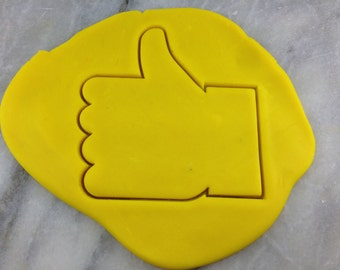 Thumbs Up Emoji Cookie Cutter Outline #1 - SHARP EDGES - FAST Shipping - Choose Your Own Size!