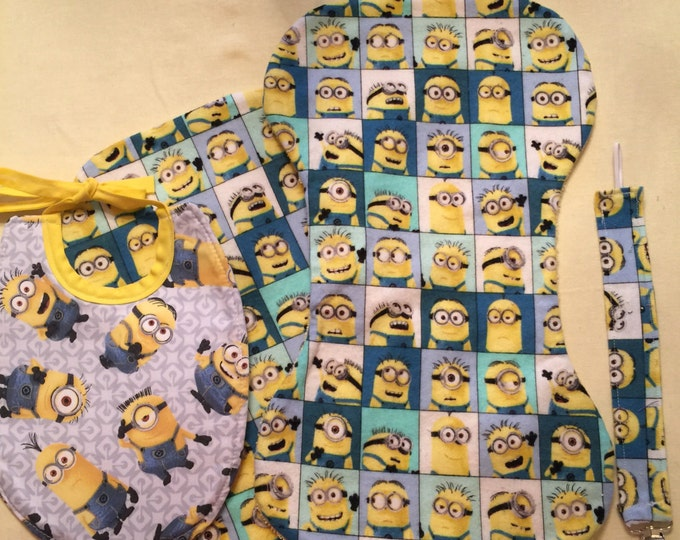 Baby Bib Gift Set Minions Character Inspired Fabric Bib, Burp Cloths and Pacifier Clip