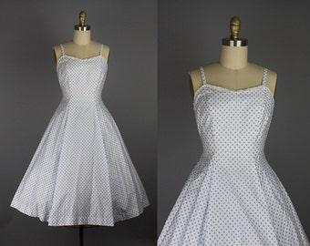 1950s blue polka dot dress/ 50s cotton sundress/ small