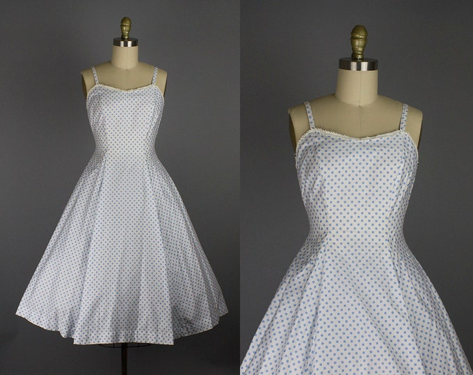 1950s blue polka dot dress/ 50s cotton sundress/ small