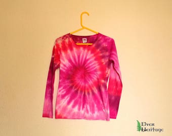 Pink/magenta/wine tie dye spiral long sleeve t-shirt (size small)