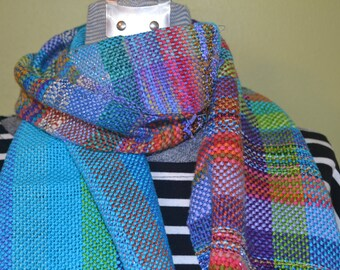 Hand woven scarf of cotton and muilti yarns  ONE OF A KIND patchwork scarf