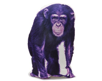 Chimpanzee, Monkey Gift, Monkey, Unique Animal Gifts,Purple Pillow, Children's Pillow, Baby Pillow, Boys Nursery, Play Room Decor, Baby Boy,