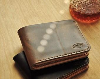 Treibholz Men's Wallet, Genuine Dark Brown with Vegetable Tanned Leather, Minimalist, Simple
