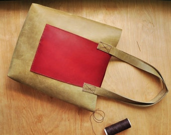 Personalised Simple Leather Tote Bag / Leather Bag / Leather Purse / Simplistic Tote / Minimalist Bag in Deep Red and Moss Leather