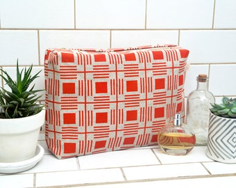 Large square Wash bag / Geometric Pattern Design / Hand Screen Printed