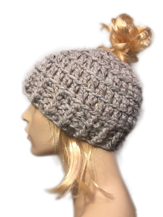 Messy bun beanie // ponytail beanie // bun beanie // ponytail hat // womens mens bun beanie // winter hat // bun hat // hat with hole