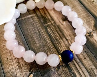 Lapis Lazuli Rose Quartz Beaded Bracelet, Healing Crystals, Wellness Bracelets, Gemstone Jewelry, Birthday Gifts, Mother's Day Gifts