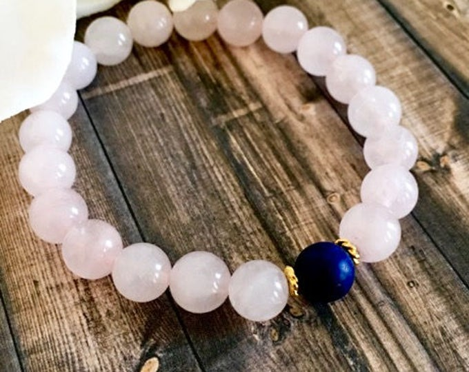 Featured listing image: Lapis Lazuli Rose Quartz Beaded Bracelet, Healing Crystals, Wellness Bracelets, Gemstone Jewelry, Birthday Gifts, Mother's Day Gifts