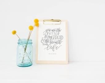 DIGITAL DOWNLOAD| julia child quote | inspirational quote | kitchen printable | kitchen decor | anniversary gift | wedding gift | love print