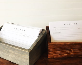 Handcrafted Wood Recipe Box + Recipe Cards