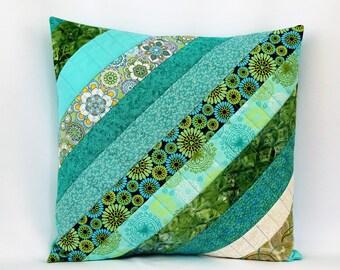 Aqua Patchwork Pillow, Throw Pilllow Cover, Blue Green, 16 x 16, Pillow Sham, Accent Pillow, Quilted Pillow, Pillowcase, Decorative Pillow