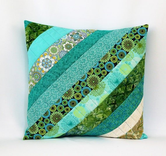 Free Throw Pillow Quilt Pattern : Aqua Patchwork Pillow Throw Pilllow Cover Blue Green 16 x